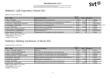 Pdf-dokument: Melodifestivalen 2011 - Svt