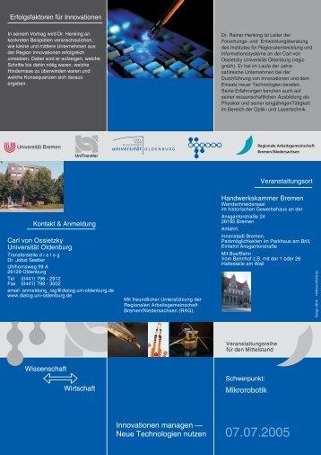Mikrorobotik - UniTransfer - Universität Bremen
