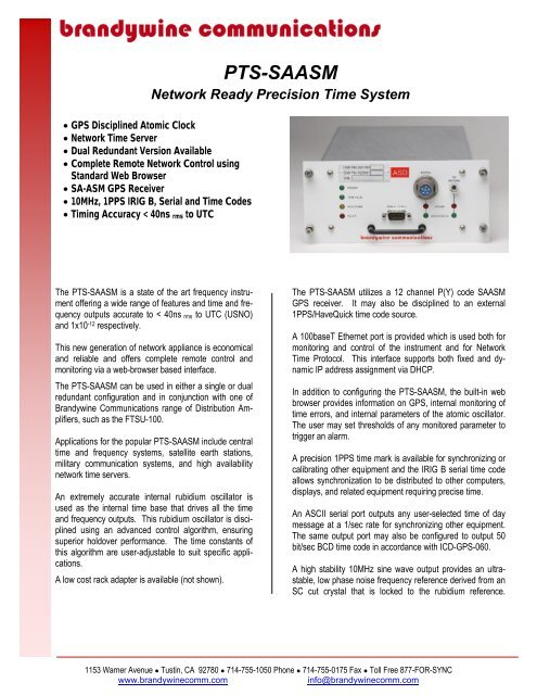 Brandywine PTS-SAASM - Time & Frequency Solutions