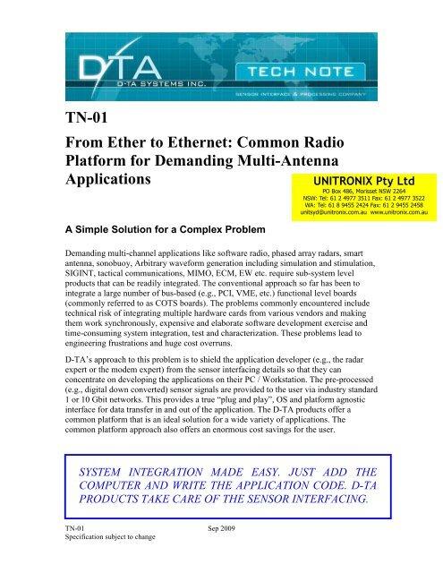 D-TA Radio Platform for Multi-Antenna Applications - Unitronix