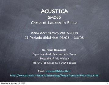acustica - Università degli Studi di Trieste