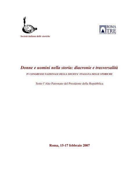 Donne e uomini nella storia: diacronie e trasversalità