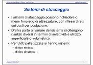 Sistemi di stoccaggio - Università degli Studi di Trieste