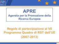 Regole di partecipazione al VII Programma Quadro di RST dell'UE ...