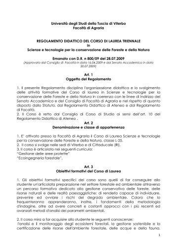 Scarica il regolamento didattico 2010-2011 - Università degli Studi ...