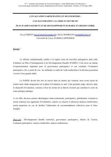 l'evaluation participative et multicritere - Università degli Studi della ...