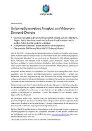Unitymedia erweitert Angebot um Video-on- Demand-Dienste