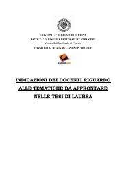 Tematiche da affrontare nelle tesi di laurea - Università degli studi di ...