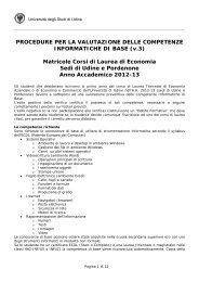 Metodo di valutazione delle competenze di base in - Università degli ...