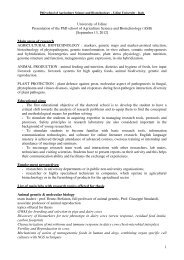 PhD school of Agriculture Science and Biotechnology – Udine