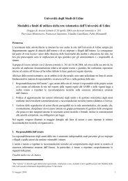 Modalità e limiti di utilizzo della rete dell'Università - Università degli ...