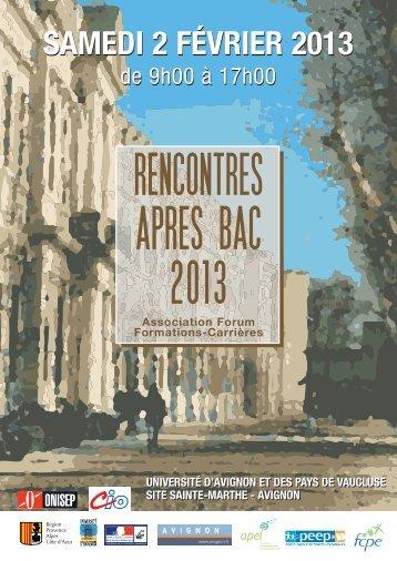 Le programme des Rencontres après Bac - Université d'Avignon et ...