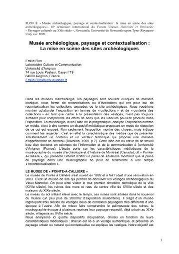 Musée archéologique, paysage et contextualisation - Université d ...