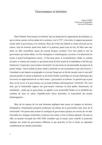 Gouvernance et territoire - Université d'Avignon et des Pays de ...