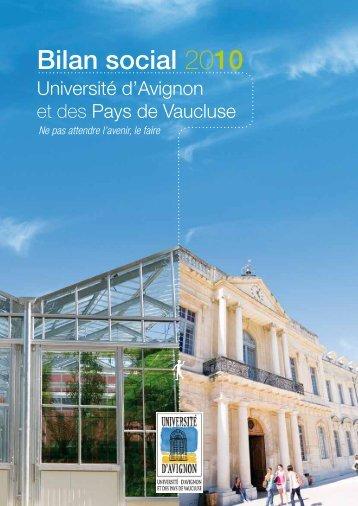 Bilan social 2010 - Université d'Avignon et des Pays de Vaucluse
