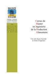Cursus de Master en Ingénierie de la Production Alimentaire