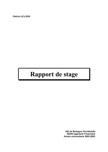Rapport de stage - Université de Bretagne Occidentale