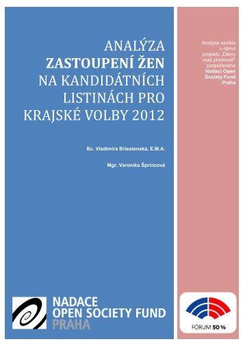 Analýza zastoupení žen na kandidátních listinách pro krajské volby ...