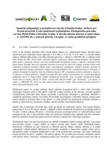 Společné připomínky a pozměňovací návrhy Zeleného ... - Zelený kruh