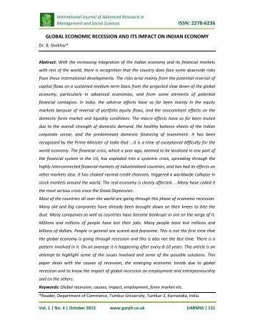 issn: 2278-6236 global economic recession and its ... - Garph.co.uk