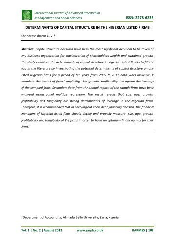 determinants of capital structure in the nigerian listed ... - Garph.co.uk