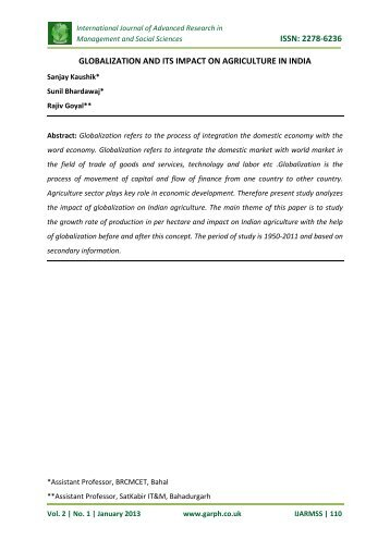 issn: 2278-6236 globalization and its impact on ... - Garph.co.uk