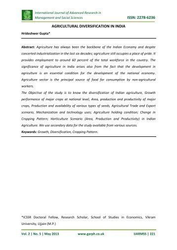 issn: 2278-6236 agricultural diversification in india - Garph.co.uk