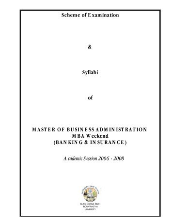 Syllabi of MASTER OF BUSINESS ADMINISTRATION MBA Weekend