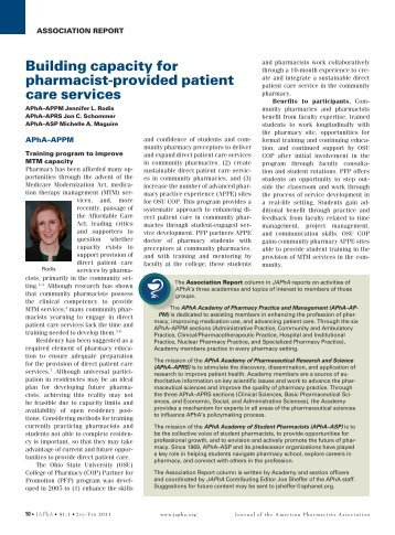 Building capacity for pharmacist-provided patient care services