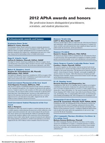 2012 APhA awards and honors - Journal of American Pharmacists ...