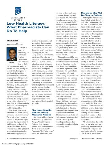 Low Health Literacy: What Pharmacists Can Do To Help - Journal of ...