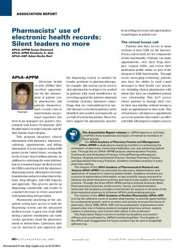 pharmacists' use of electronic health records: silent leaders no more