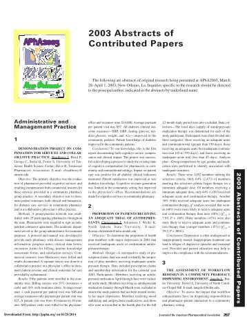 2003 Abstracts of Contributed Papers - Journal of American ...