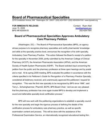 2009-05 Board of Pharmacy Specialties Approves Ambulatory Care ...