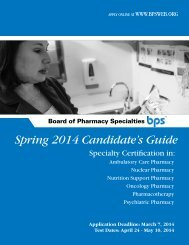 Candidate's Guide - Board of Pharmaceutical Specialties