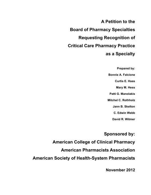A Petition to the Board of Pharmacy Specialties Requesting