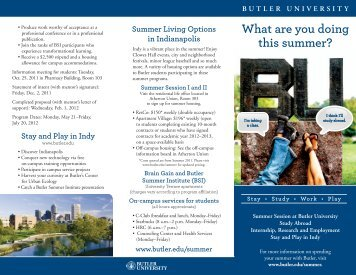 What are you doing this summer? - Butler University