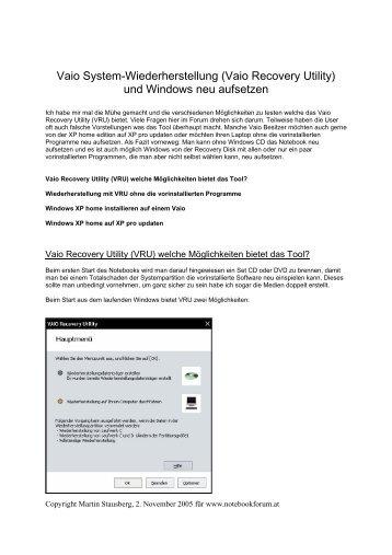 Vaio System-Wiederherstellung (Vaio Recovery Utility) und ...