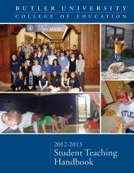 College of Education Student Teaching Handbook - Butler University