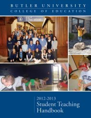 College of Education Student Teaching Handbook - Butler University