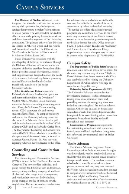 Campus Services - Butler University