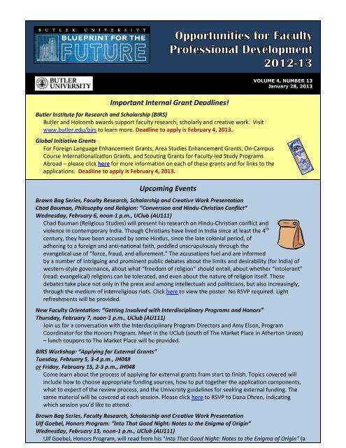 January 28, 2013 - Butler University