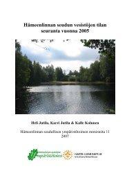 Hämeenlinnan seudun vesistöjen tilan seuranta vuonna 2005 (pdf)