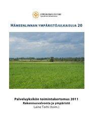 Palveluyksikön toimintakertomus 2011 - Hämeenlinna