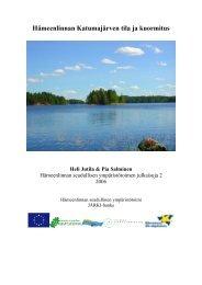Hämeenlinnan Katumajärven tila ja kuormitus