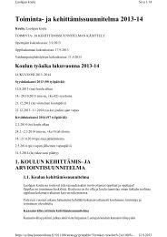 ja kehittämissuunnitelma 2013-14 - Hämeenlinna