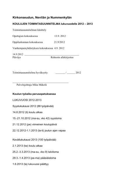 Toimintasuunnitelma 2012-2013 - Hämeenlinna
