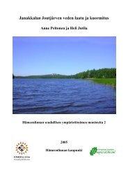 Janakkalan Joutjärven veden laatu ja kuormitus - Hämeenlinna