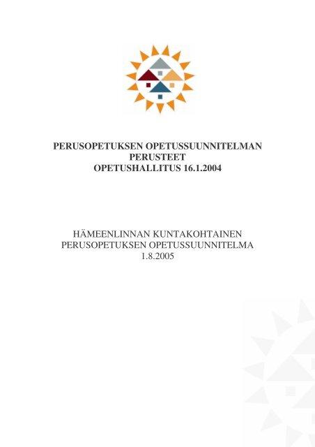 1. luku Opetussuunnitelma - Hämeenlinna