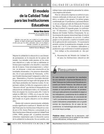 El modelo de la Calidad Total para las Instituciones Educativas